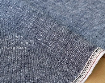 Japanese Fabric 100% chambray linen - navy -  50cm