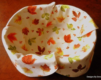 Basket Liner, Bread Cloth, Table Topper, Centerpiece, Colorful Fall Leaves and Red Berries on a Cream Background, Handmade Table Linens