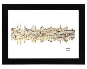 Madrid City Spain Skyline Print with vintage map