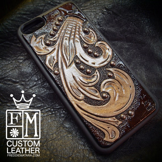 iPhone 6 cellphone case Chocolate Brown scroll studded natural hand carved leather inlay Made for YOU in NYC USA by Freddie Matara!