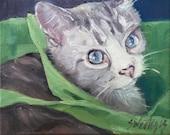 Original oil , painting, 30 day challenge, cat,swedegis art , Aren't I Cute