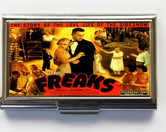 Freaks Vintage Poster Business Card Holder Card Case  circus sideshow