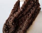 Gift for Her, Women's Knit Scarf, Hand Knit Infinity Scarf, Snood, Cowl, CHOCOLATE and GOLD