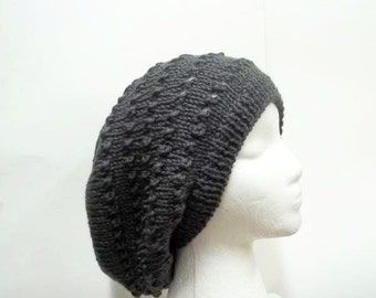 Gray slouchy beanie with eyelets hand knitted  5260