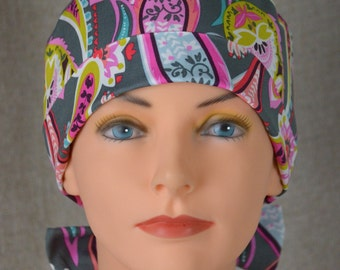 Surgical Scrub Hat or Chemo Cap- The Mini with Fabric Ties- Gray Paisley