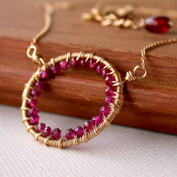 January Birthstone Necklace. Gemstone Encrusted Garnet Hoop Necklace. Wire wrapped Garnet Pendant Necklace. Garnet Hoop Necklace.