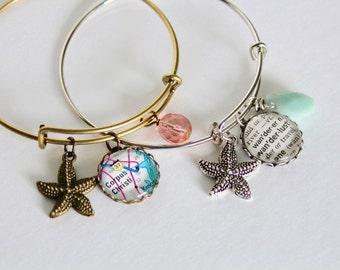 Starfish Bangle Bracelet, Custom Map Bracelet, Custom Word, Beach Wedding Bracelet, Starfish Charm, Aqua Bangle