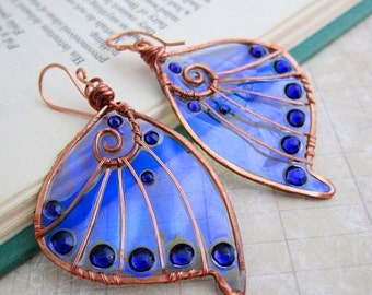 Sale - Sihaya Designs Faery Wing Earrings - The Unseelie Host - Iridescent Fairy Wing Jewelry