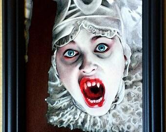 Lucy Westenra - Original Drawing - Gary Oldman Bram Stoker Vampire Blood Winona Ryder Pop Lowbrow Art Gothic Sadie Frost Creature Dark Art