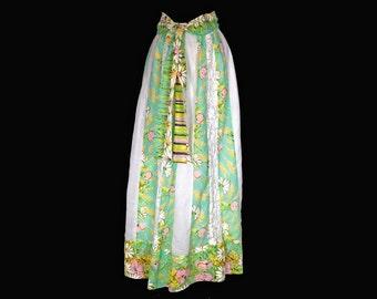 Vintage Skirt, 1970's, Long, Hostess Skirt, Green Floral Print, Lace Panels, Sash Belt, Boho, Hippie, Chessa Davis,Small/Medium