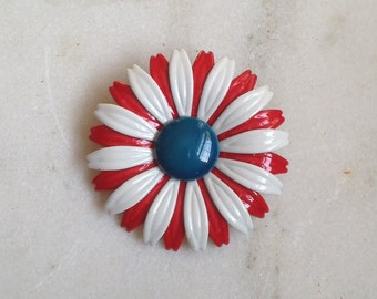 Vintage Enamel Flower Pin, Brooch, Red White and Blue, 1960s