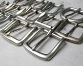 Bakers Dozen Silver Solid Brass Belt Buckles, Reclaimed, Recycled, OOAK