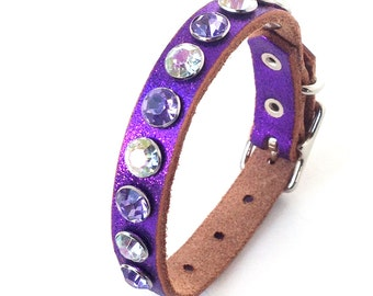 Glitter Purple Leather Dog Collar with Giant Rhinestones, Size XS/S, to fit a 7-10 Neck, Extra Small Dog, Eco-Friendly, Unique, OOAK