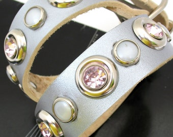 Silver Leather Dog Collar with Pink Rhinestones and Pearl Studs, Size L, to fit a 17-20in Neck, Eco Friendly Reclaimed Leather
