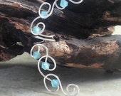 Mermaid Blue Crystal Ear Cuff Ear Climber, Boho Wedding Ear Wrap, Beach Wedding Ear Vine, bridal ear cuff No Piercing Required