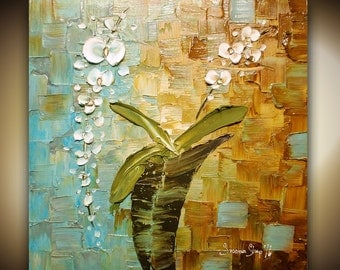 White Orchid Painting ORIGINAL Abstract Painting Still Life Oil Painting Modern Palette Knife Textured Flower Painting Home Decor by Susanna