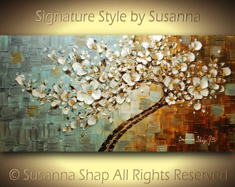ORIGINAL ART tree painting landscape painting cherry blossom painting white flowers painting palette knife oil painting original painting