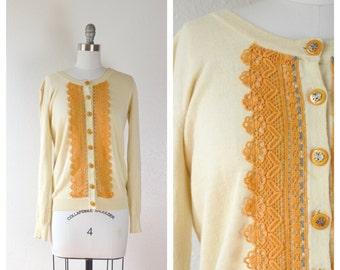 lace cardigan sweater / beige sweater / small-medium