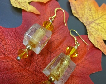 GOLDEN AUTUMN EARRINGS - 14K gold plated earhooks