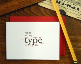 letterpress you're just my type greeting card typography anatomy type definitions font humor