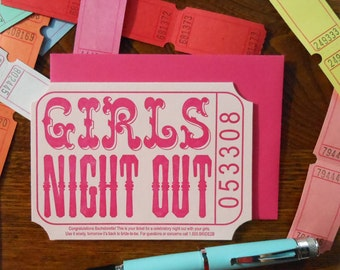 letterpress girls night out ticket bachelorette greeting card pink hot pink cream raffle carnival ticket