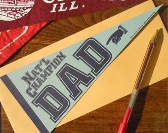 letterpress nat'l champion dad vintage pennant flat card grey & navy father's day card or decoration