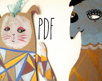 PDF Geometric Rabbit & Blue Dog Articulated Paper Dolls / Hinged Beasts Series