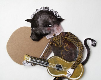Bull Headed Paper Doll Greeting With Guitar / Articulated Paper Doll Constructed