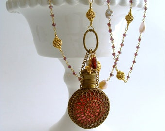 Mystic Garnet Keshi Pearls Cranberry Glass Chatelaine Scent Bottle Necklace - Alora Necklace