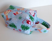 HOLIDAY SALE - Christmas Santa Reindeer Snowflake Zipper Box Knitting Project Bag