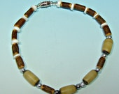 Anklet Wood Puka Shell Coco Wood and Buli Beads Hawaiian Surfer SUP 9 Inches Length 5210
