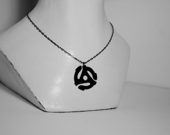 45 RPM Adapter Recycled Vinyl Record Necklace