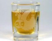 Sloth Shot Glass - etched square shot glass