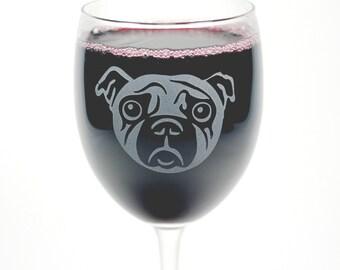 Pug Dog Wine Glass