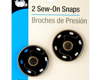 Dritz - SEW-ON SNAPS - 2 Ct. - 30mm - Antique Brass or Black Brass