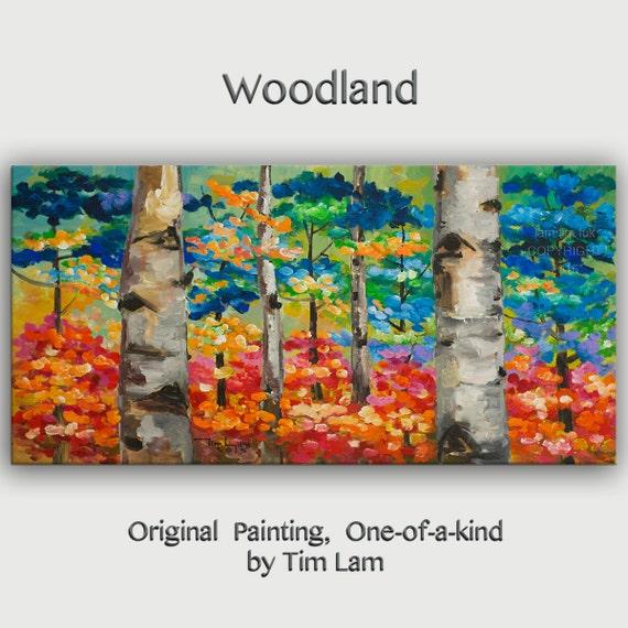Acrylic art tree painting Changing Season Aspen art large abstract art wall art gallery art modern art canvas art by Tim Lam 48x24