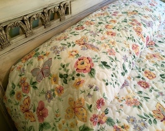 Vintage Queen Quilted Bedspread - Cannon - Butterflies and Flowers - Queen Bedspread - Springtime