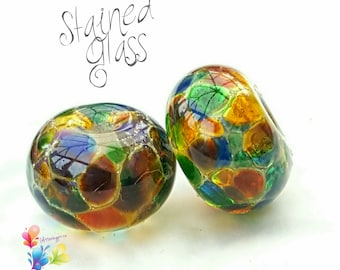 Lampwork Beads Stained Glass Pair