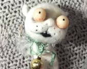 White cat Angel  ornament Needle felted ooak  art doll