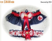 SALE 10% OFF Handmade Wedding Garter Set  Boston Red Sox with Marabou Pouf navy