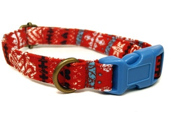 Holiday Sweater - Red Brown Blue Nordic Swiss Heart Snowflake Winter Organic Cotton CAT Collar Breakaway Safety - All Antique Brass Hardware