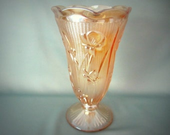 Carnival Glass Light Marigold Iris And Herringbone Vase
