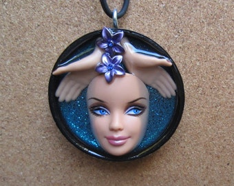 Rainforest 1 - Upcycled Barbie Doll Pendant