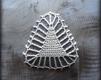 Crochet Lace Stone, Triangle, Table Decoration, Home Decor, Nature, Handmade, Original Pattern, Unique, Gift, Monicaj