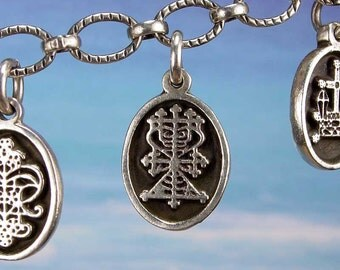 PETITE MEDAL - VOODOO - Maman Brigitte Veve Charm Pendant in Sterling Silver, Bronze, 14K Gold