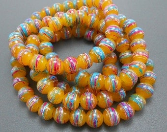 50 Honey Swirl Glass Beads 8mm round (H2041)