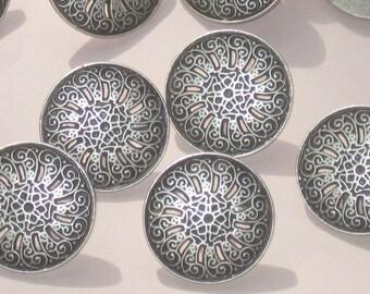 "set 12 PIERCED Fancy FLOWER Antiqued Silver Metal Vtg New buttons 21mm 13/16"""