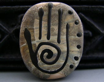 Naos Glass ANCIENTS WAY Handmade Lampwork Bead SRA Reiki Healing Hand Symbol Focal