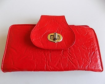 Vintage Red Textured Vinyl Wallet Money Holder Organizer Coing Purse