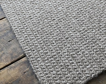 "Crocheted rug 100% natural wool 33""x21"", entry mat, bedroom rug, rectangular carpet, latex backing"
